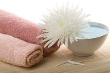 Towels And White Flower Isolated Stock Photos