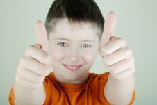 The Boy With Thumb-up Royalty Free Stock Photo