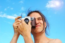 Free Young Man With Old Camera Royalty Free Stock Image - 8298856