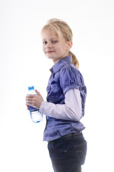Free Little Young Beautiful Girl With Bottle Water Stock Photography - 8299002