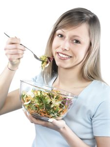 Free Woman Eating Salad Royalty Free Stock Photos - 8299888