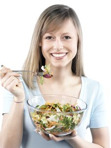 Free Woman Eating Salad Royalty Free Stock Photography - 8299917