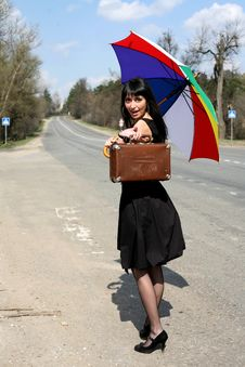 Free Girl With Vintage Suitcase Royalty Free Stock Photos - 8299948