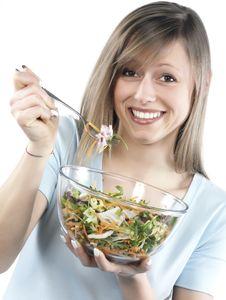 Free Woman Eating Salad Stock Photos - 8299963