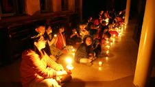 Free Children With Candles On Floor Royalty Free Stock Image - 82913286