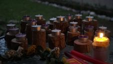 Free Candles On Outdoor Display Stock Images - 82913394