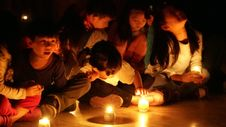 Free Children At Candlelight Event Stock Image - 82915311