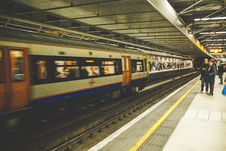 Free Train Moving By Platform Royalty Free Stock Images - 82927759