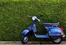 Free Blue Moped By Green Bush At Roadside Royalty Free Stock Images - 82931639