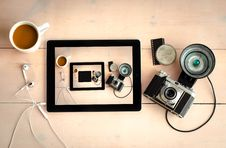 Free Film Camera With Tablet Stock Photos - 82933933