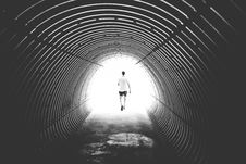 Free Grayscale Photo Of Man Walking In Hole Royalty Free Stock Images - 82934839