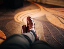 Free Man Wearing Leather Shoes Stock Images - 82935774