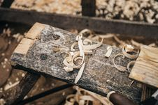Free Wood Shavings On Plank Royalty Free Stock Photo - 82936725