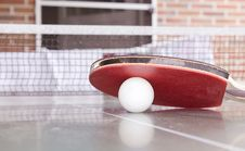 Free White Pingpong Ball Beneath Red Table Tennis Paddle Stock Images - 82937444