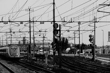 Free Railway Lines And Electrical Cables Stock Photos - 82937943