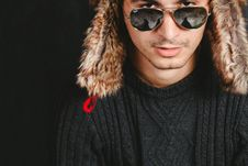 Free Man With Furry Hat And Sunglasses Royalty Free Stock Photography - 82938677