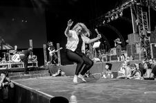 Free Women Dancing On Stage In Gray Scale Photography Royalty Free Stock Images - 82945789