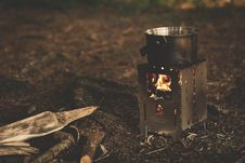 Free Stainless Steel Pot On Brown Wood Stove Outside During Night Time Stock Photos - 82946043