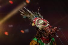 Free Red Grey Feathered Festival Mask Stock Image - 82946971