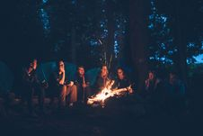 Free Group Of People Sitting Near Bonfire Stock Images - 82946974