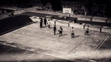 Free Birds Eye View And Grayscale Photo Of People Playing Basketball Stock Photo - 82947160
