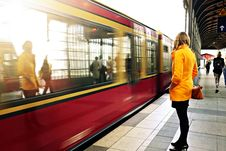 Free Woman Awaiting Commuter Train In Berlin Stock Photos - 82948513