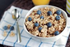 Free Breakfast Granola With Blueberries Royalty Free Stock Photo - 82948665