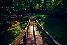 Free Brown Wooden Bridge Near Forest During Golden Hour Stock Photo - 82948970