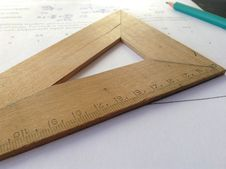 Free Wooden Measuring Stick And Pencil Stock Image - 82949031