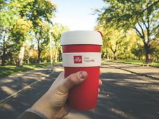 Free Red And White Plastic Tumbler Stock Photography - 82949422