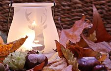 Free White Ceramic Lamp With Deer Cutout Near Leaves Stock Images - 82949704