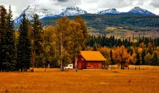 Free Wooden Cabin In Mountain Valley Stock Photography - 82950042