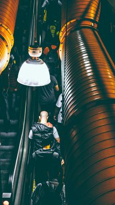 Free Photo Of People Using Escalator Inside A Building Stock Photos - 82950093