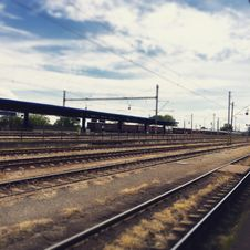 Free Rail Way Under Cloudy Sky Royalty Free Stock Photography - 82950497