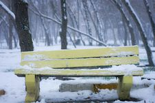 Free Yellow Wooden Bench During Winter Stock Photo - 82950770