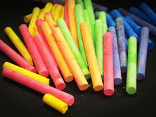 Free Pink Yellow Green And Blue Chalk Stock Images - 82951384