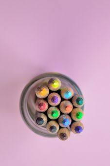 Free Yellow Pencil Color In Clear Glass Case Stock Photo - 82951460