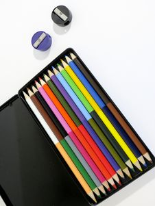 Free Colored Pencils And Sharpeners Stock Photo - 82951490