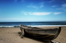 Free Wooden Boat On Beach Stock Photos - 82951733