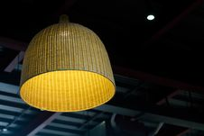 Free Brown Wicker Ceiling Lamp Stock Photography - 82951862