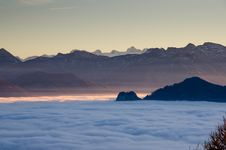 Free Mountain Valley With Fog Stock Images - 82952124