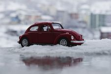 Free Red Toy Car In Snow Royalty Free Stock Image - 82952206