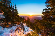 Free Sunset Over Alpine Forest Royalty Free Stock Images - 82952909