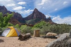 Free Camping Tents In Wilderness  Stock Image - 82953061