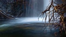 Free Scenic View Of Waterfall During Winter Stock Photos - 82953153