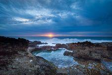 Free Sun Rise Over Rocky Coastline Stock Photo - 82953320