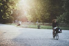 Free Woman Cyclist In The Park At Sunset Stock Photo - 82953470