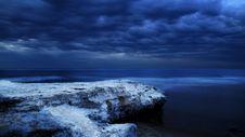 Free Rocky Seacoast At Night Stock Photo - 82953500