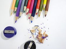 Free Multi Colored Pencils On White Background Stock Photography - 82954722