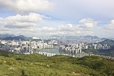 Free Aerial View Of City Along Waterfront Royalty Free Stock Images - 82954859